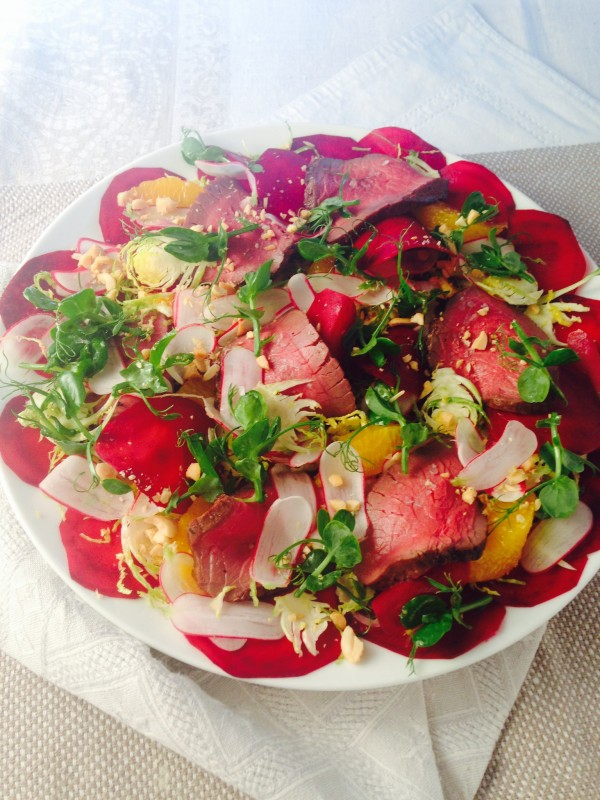 Venison, beetroot, orange and hazelnut salad