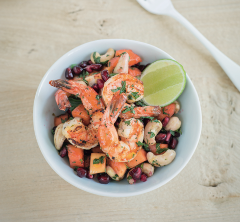 Grilled prawn, papaya, cashew nut and pomegranate seed salad